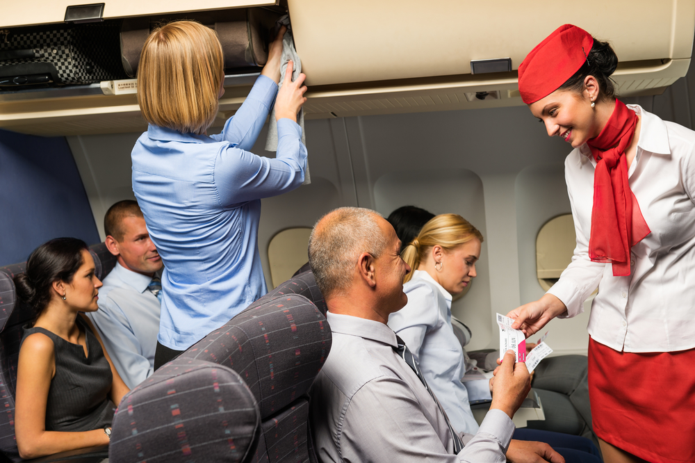 Cabin crew assistance on plane